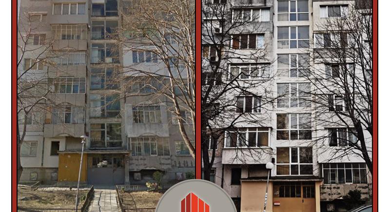 Тази етажна собственост е клиент на Кантора Акорд от края на 2016 г. и беше във вида от първата снимка.  За няколко години работа заедно направихме:  - домофонна система; - подмяна на дограма; - поставяне на топлоизолация; - хидроизолация на покрива; - шпакловка на машинно помещение; - боядисване на общите части; - боядисване на входната врата; - други дребни ремонти.